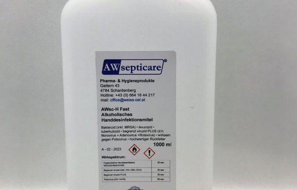 AWsc-H Fast Alkoholisches Handdesinfektionsmittel 1000 ml